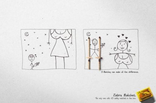 """Креативная реклама спичек Zebra """"Спички могут изменить все!"""""""