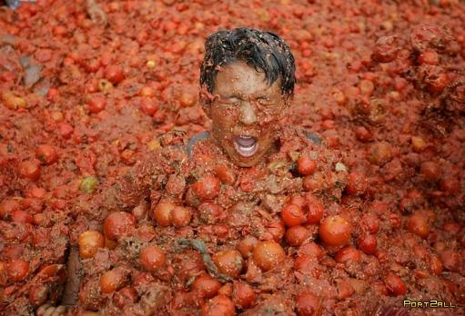 Бои томатами в Колумбии. Колумбийские томатные бои.
