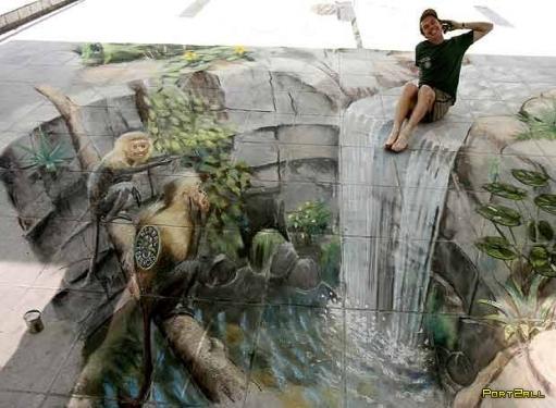 Реалистичные рисунки на асфальте