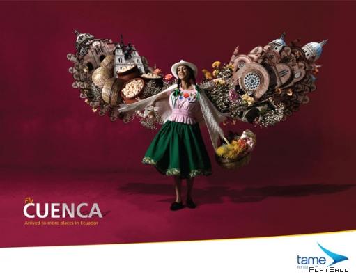 Креативная реклама авиакомпании Tame Ecuador Airlines